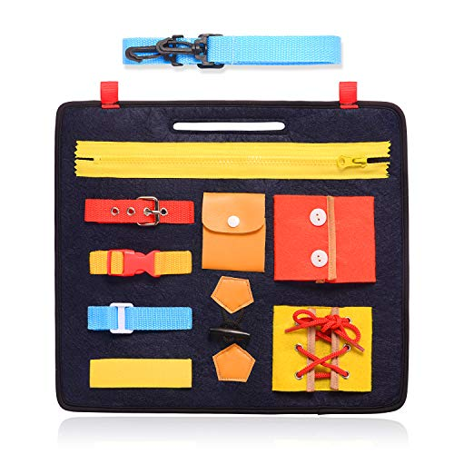 VERGILIUS Toddler Busy Board - Montessori Basic Skills Activity Board for Fine Motor Skills & Learn to Dress - Educational Learning Toys for 1 2 3 4 Year Old Toddlers - Sensory Toy for Airplane or Car