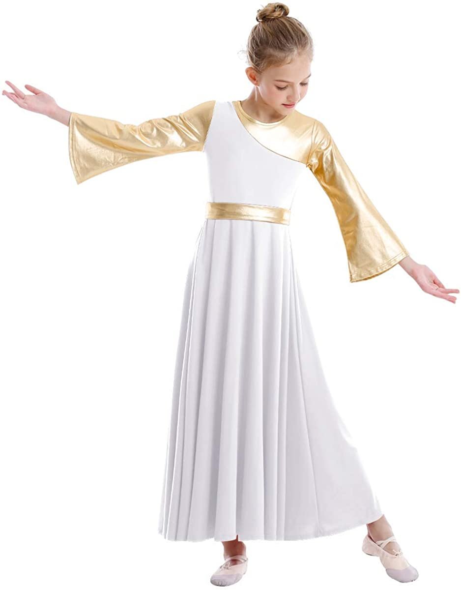 Girls Metallic Liturgical Praise Dance Dress Bell Long Sleeve Lyrical  Worship Costume Full Length Dancewear for Kids