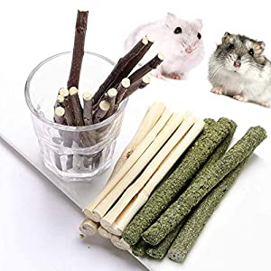 FLOURITHING 3 Types of Combined, Guinea Pig Chew Molar Sticks Toys, All Natural Apple Branch, Timothy Stick, Sweet Bamboo, for Rabbits, Hamster, Bird, Etc. 3