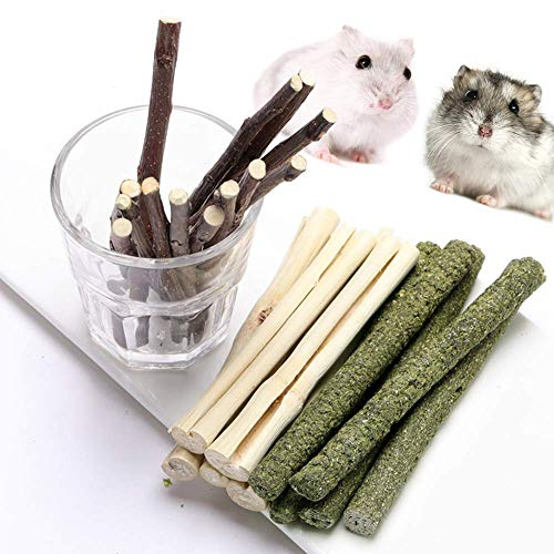 (FLOURITHING 3 Types of Combined Chew Toys Molar Sticks Sweet Bamboo Apple Branch Timothy Grass for Pets Chinchilla Squirrel Gerbil Hamster Squirrel Guinea Pigs (100g))