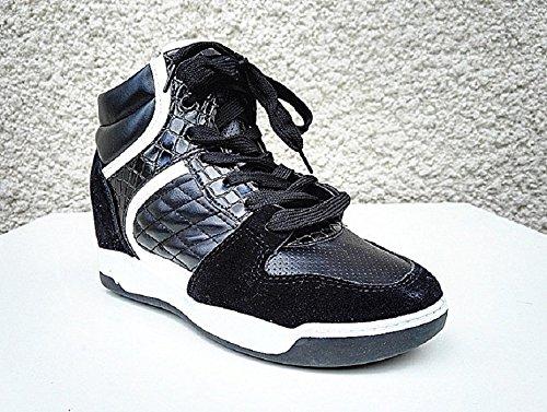Basket compensées montante femme chaussure cuir simili fille lacet mode R-78 NOIR