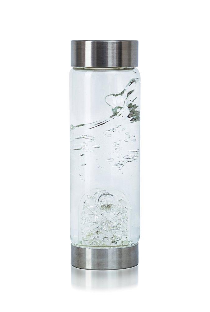 VitaJuwel Gemwater Infused Glass Bottle with Crystals Gemstone (Diamond) by VitaJuwel