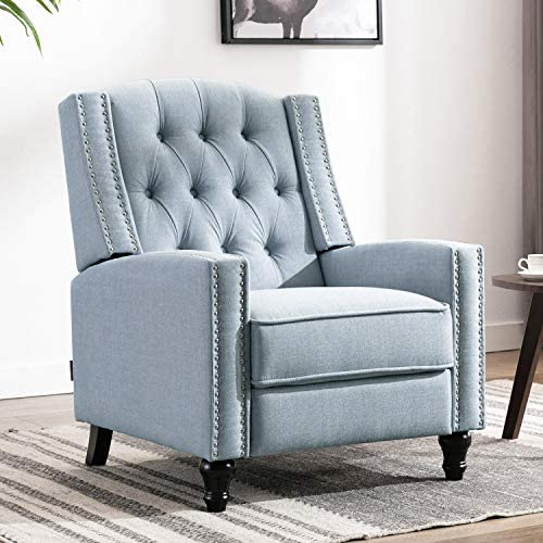 Altrobene Accent Push Back Recliner Chair Tufted Adult Comfy Modern Armhair