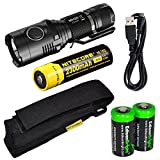 Nitecore MH20 CREE XM-L2 U2 LED 1000 Lumen USB Rechargeable Flashlight, Nitecore NL183 18650 rechargeable Li-ion battery, USB charging cable, Holster 2 X EdisonBright Cr123A lithium batteries bundle