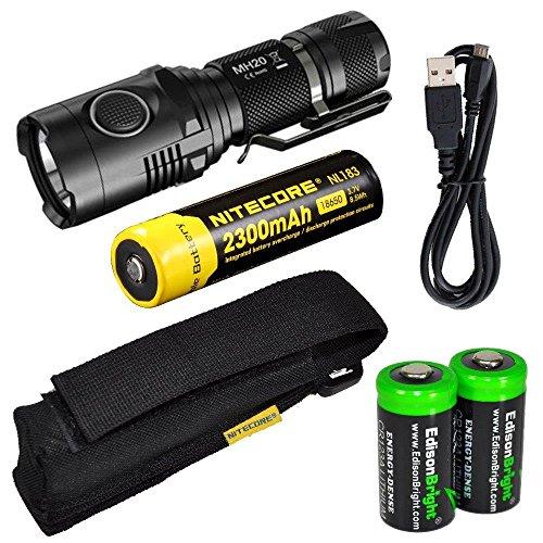Nitecore MH20 CREE XM-L2 U2 LED 1000 Lumen USB Rechargeable Flashlight, Nitecore NL183 18650 rechargeable Li-ion battery, USB charging cable, Holster 2 X EdisonBright Cr123A lithium batteries bundle by EdisonBright