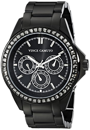 Vince Camuto Women's Grey Swarovski Crystal-Accented Multi-Function Matte Black Bracelet Watch