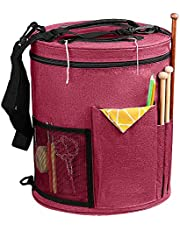 SumDirect Knitting Bag, Yarn Organizer Tote Bag Portable Storage Bag for Yarns, Carrying Projects, Knitting Needles, Crochet Hooks, Manuals and Other Accessories