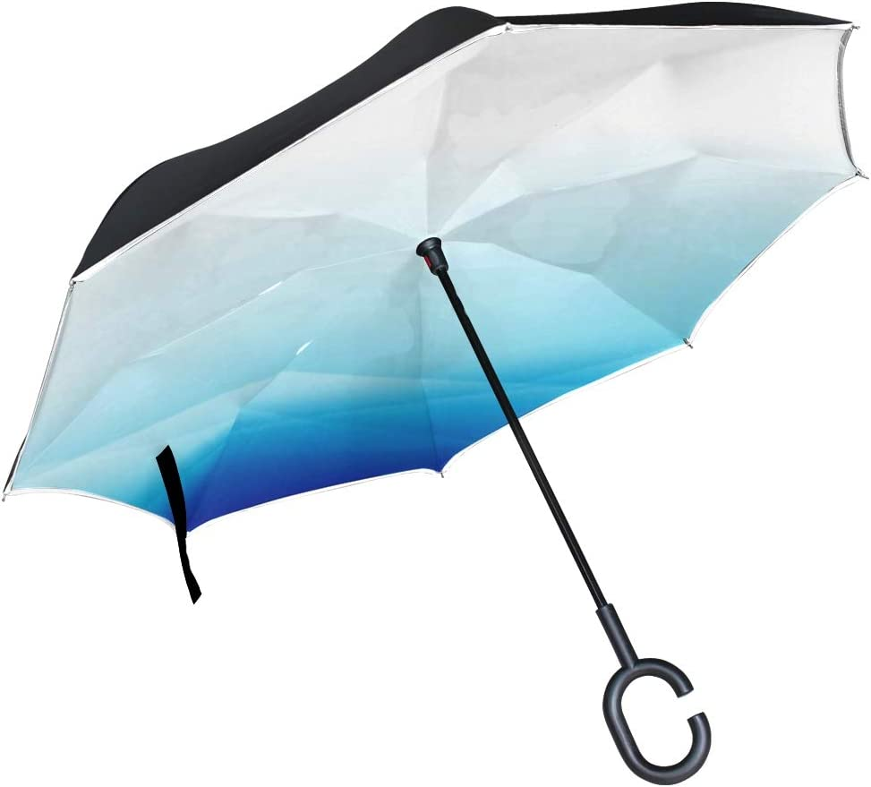 Double Layer Inverted Inverted Umbrella Is Light And Sturdy Blue Curve Abstract Background Vector Illustration Reverse Umbrella And Windproof Umbrell