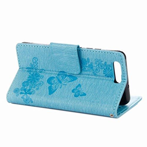 Yiizy Huawei P10 Custodia Cover, Farfalla Fiore Design Sottile Flip Portafoglio PU Pelle Cuoio Copertura Shell Case Slot Schede Cavalletto Stile Libro Bumper Protettivo Borsa (Blu)