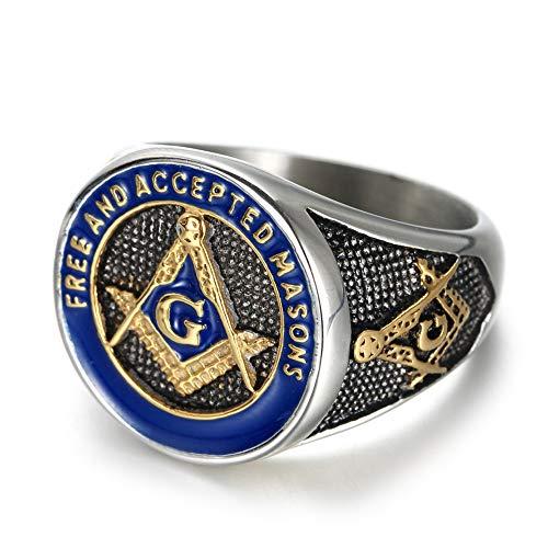 Ring Masonic Enamel Blue - IFUAQZ Men's Stainless Steel Masonic Freemason Rings Gold Blue Free and Accepted Masons Symbol Signet Band Size 13