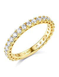 14k Yellow OR White Gold SOLID Semi-Eternity Wedding Band