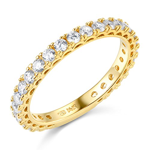 14k Yellow Gold SOLID Semi-Eternity Wedding Band - Size 6