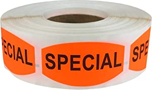 Special Grocery Store Food Labels .75 x 1.375 Inch Oval Shape 500 Total Adhesive Stickers