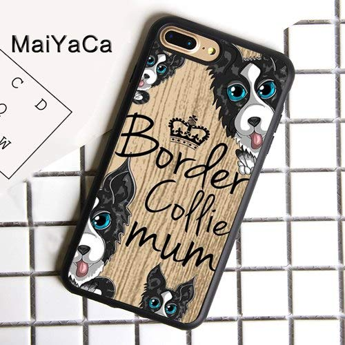 Misc Border - MISC Black White Border Collie Mum iPhone XR Case Dog Mom Themed Wood Grain Cover Cute Adorable Fun Puppy Crown Tan Beige Woodgrain, Rubber