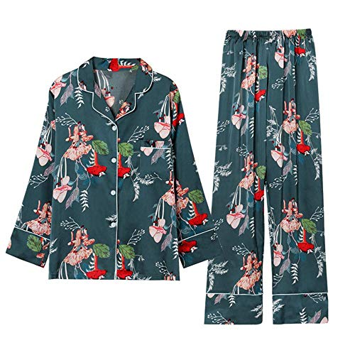 Satin Piezas Dormir Primavera Y Mujer A Ropa Manga Camisones Saten Siete Verano Pijamas De Elegante 2 Larga Conjunto Otoño Xwtx7OwP