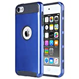 ULAK iPod 5 Case, iPod Touch 6 Case Dual Layer Hybrid Hard PC + TPU Protective Case Cover for Apple iPod touch 5th 6th Generation (Dark Blue+Black)