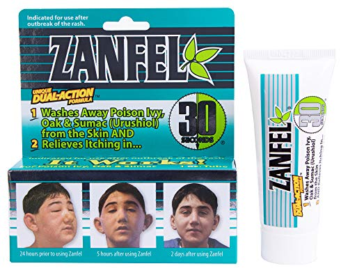 ZANFEL Poison Ivy, Oak & Sumac Wash - Topical Solution for The Reaction Caused by Exposure to Poison Ivy, Poison Oak, and Sumac (1 Fluid Ounce / 29 Milliliter)
