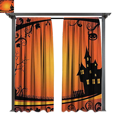 Halloween, Outdoor Free Standing Outdoor Privacy Curtain, Framework with Curvy Tree Branches Swirls Leaves Gothic Castle Festival, for Front Porch Covered Patio Gazebo Dock Beach Home (W84 x L84 Inc ()