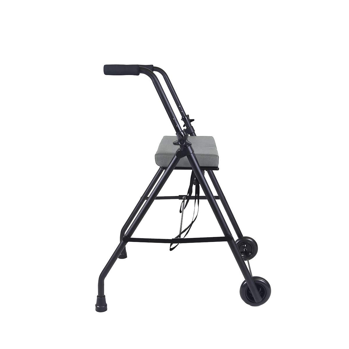 KMINA - Andadores ancianos plegable, Andadores adultos con asiento, Andadores ancianos 2 ruedas, COMFORT 2 Ruedas Negro