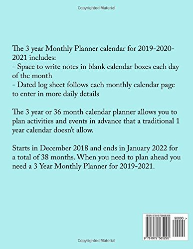 3 Year Monthly Planner 2019 2020 2021 The 3 Year Monthly Planner