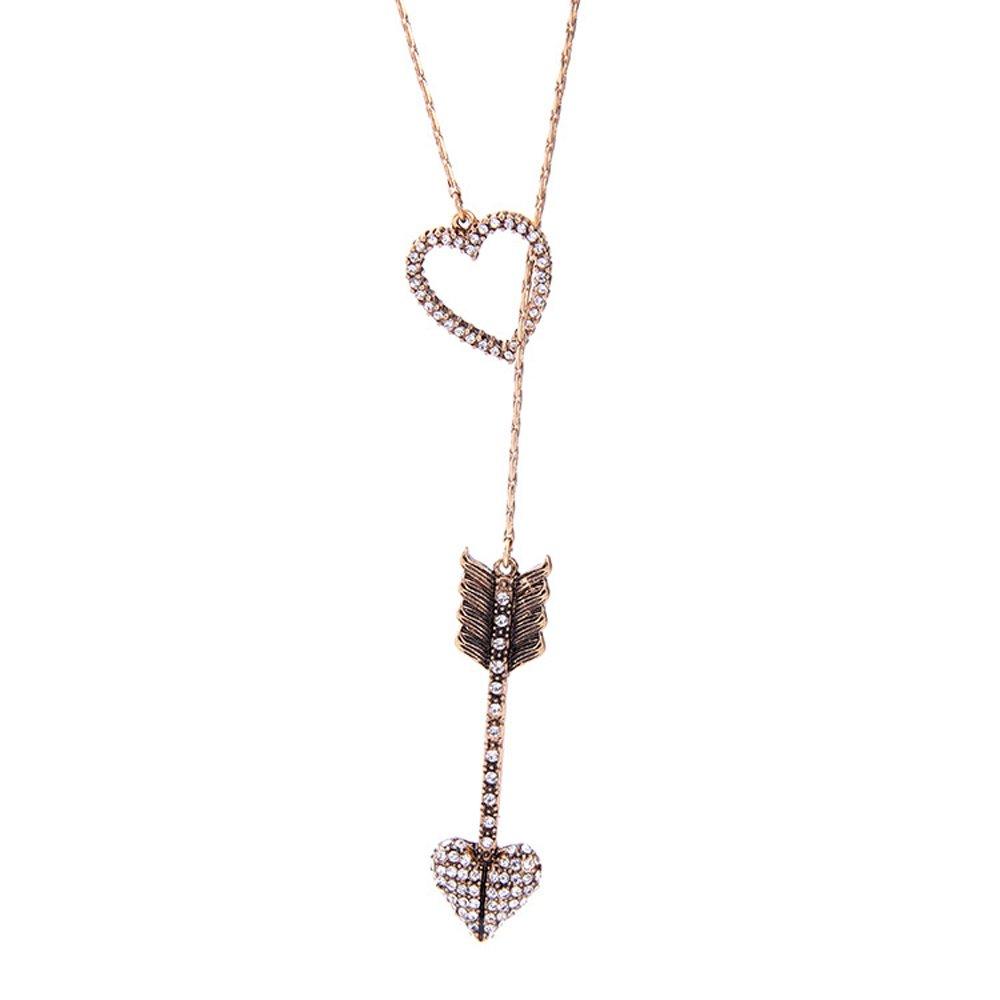 F-U Vintage Multilayer Multicolor Irregular Crystal Pendant Adjustable Long Chain Necklace for women Fu80063u
