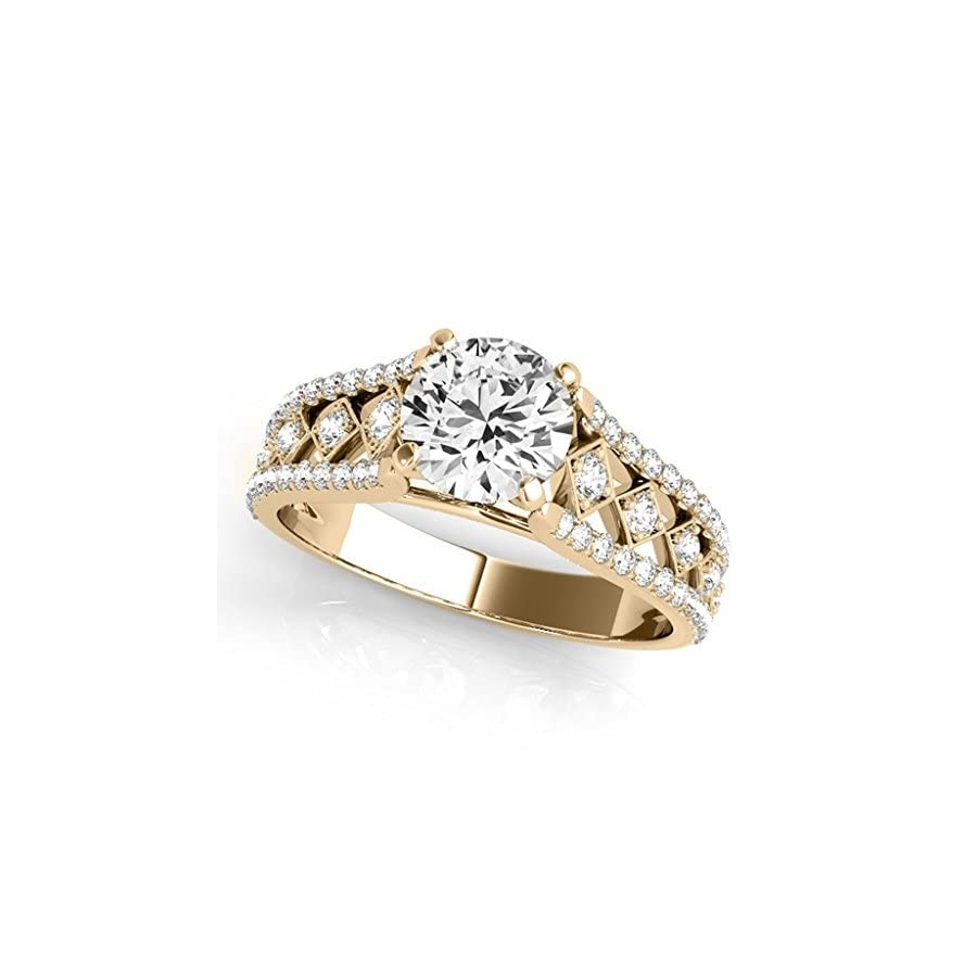 0.75 Ct. Halo Brilliant Cut Diamond Engagement Forever Ring Crafted In 14k Solid Yellow Gold