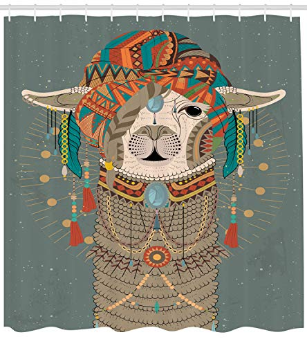 Ambesonne Llama Shower Curtain, Colorful Headwear Wearing Llama with Accessories Earrings Necklace Abstract Animal, Cloth Fabric Bathroom Decor Set with Hooks, 75 Inches Long, Gray Green