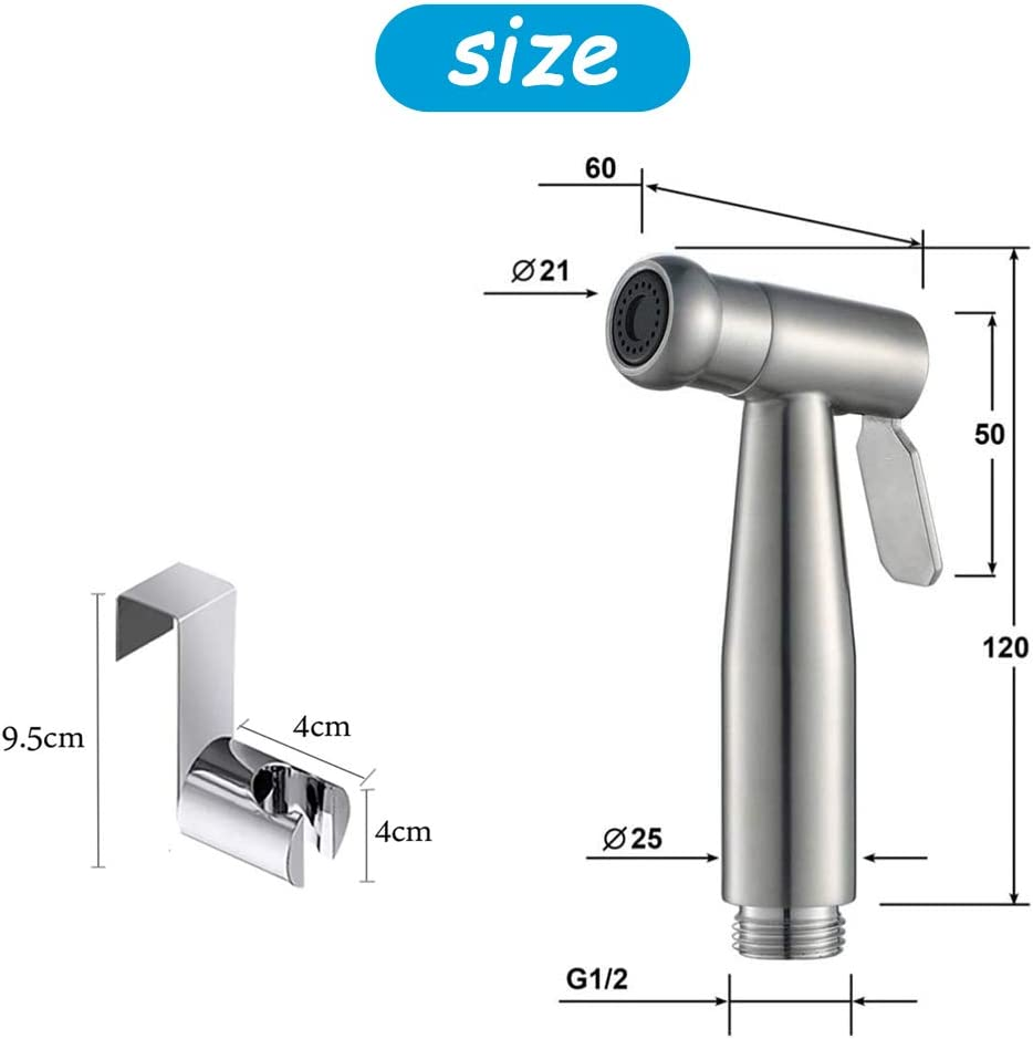 Bidet Sprayer Toilet Sprayer//Hand-held Stainless Steel Sprayer with Hook for Personal Hygiene and Bedpan WC Sprayer Easy to Install