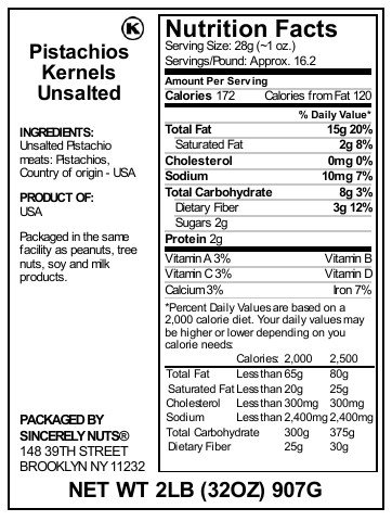 Pistachios Shelled Kernels Roasted Unsalted, 2lbs