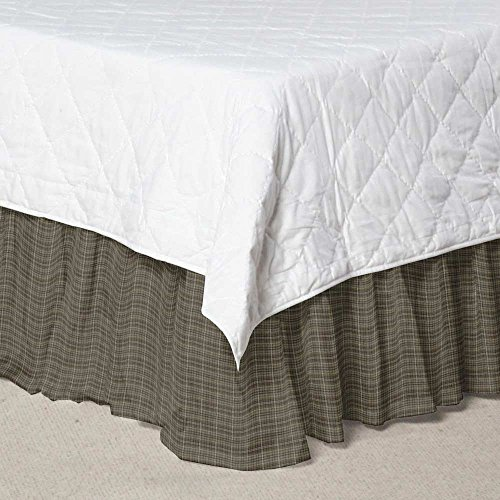 Patch Magic Green Sage Plaid Black and White L Fabric Dust Ruffle, (Cottage Plaid Bedskirt)