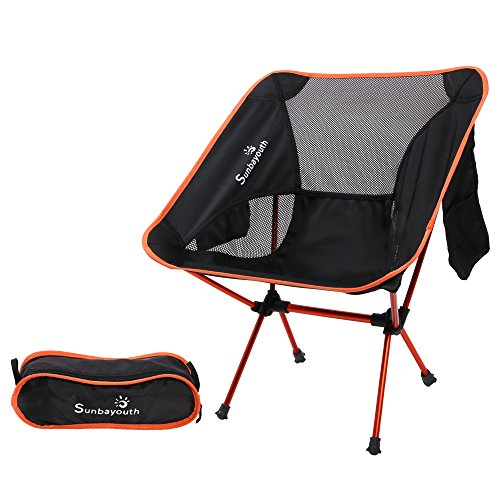 LetsFunny Folding Camping Chair Portable Lightweight Backpack Chairs Compact Heavy Duty with Carry Bag for Hiking Picnic Beach Camp Backpacking Outdoor Festivals (Orange)