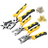 YaeTek Hole Punch Tool ,Eyelet and Press Stud Pliers Set Heavy Duty Revolving Punch Plier Metal Tool for Leather Belt, Saddle, Watch Strap, Shoe, Fabric, Paper, etc