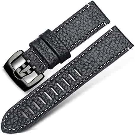 73d8962f3 23mm Men's Genuine Leather Italian Calfskin Watch Band General Purpose  Women's Sport Straps with Heavy Duty