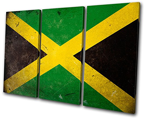 Bold Bloc Design - Maps Flags Abstract Jamaican - 60x40cm Canvas Art Print Box Framed Picture Wall Hanging - Hand Made In The UK - Framed And Ready To Hang by Bold Bloc Design
