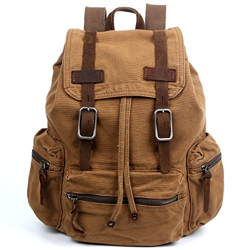 The Same Direction Silent Trail Backpack Canvas and Leather Durable Backpack (Camel) (The Same Direction Bag)