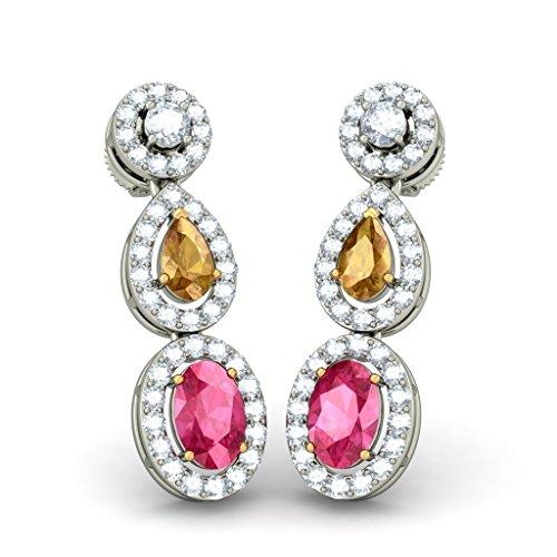 14K Or blanc 0.79carat au total Round-cut-diamond (IJ | SI) et tourmaline rose et saphir Jaune Pendants d'oreilles
