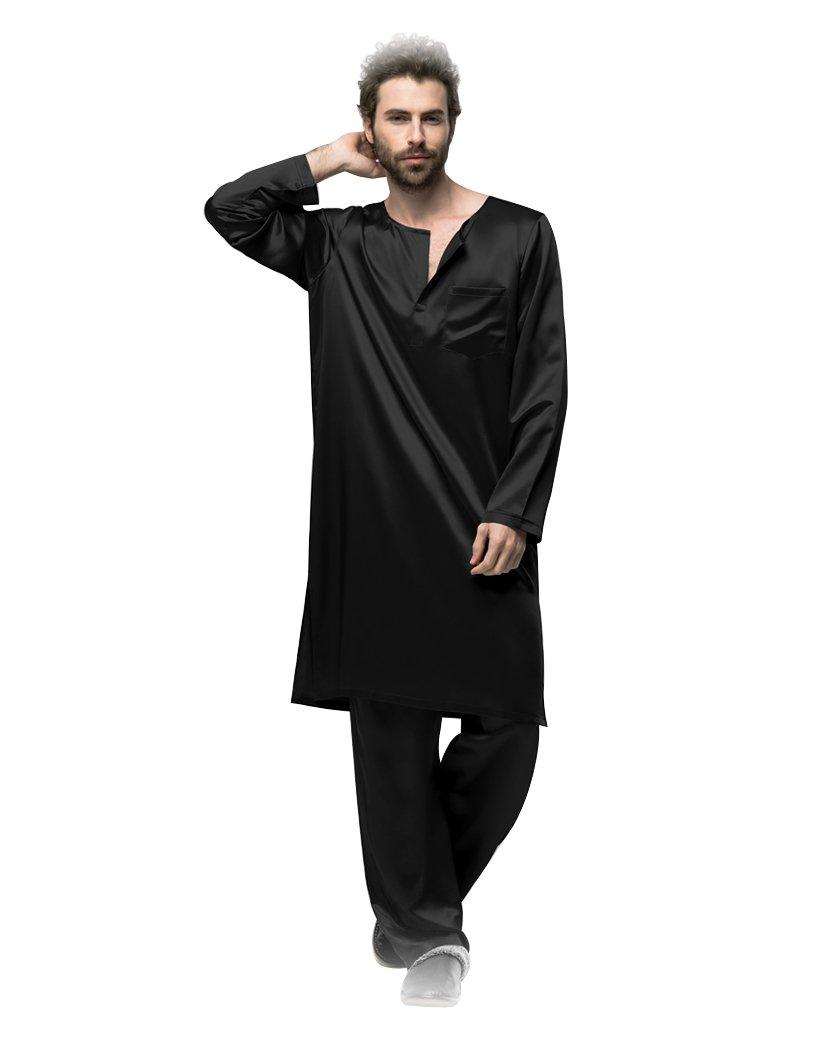 Galabiyyas style long sleeves silk sleep robe and pyjama trousers sleepwear for man 22 momme