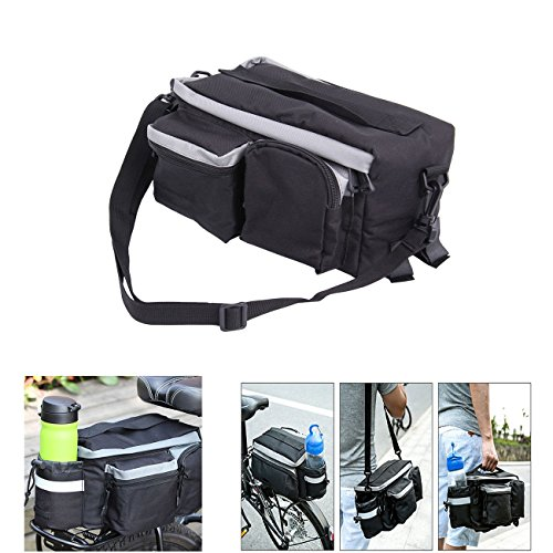 PanelTech Bicycle Cycling Sport Rear Rack Seat Trunk Bag Bike Mountain Handbag Storage Expanding Carry Strap Portable Shoulder Saddle Bag with Water Holder by PanelTech (Image #1)