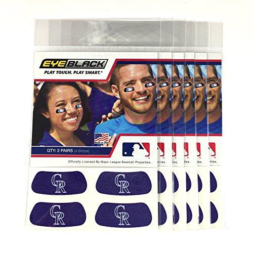 EyeBlack (24 Strips) - Colorado Rockies Purple MLB Eye Black Anti Glare Strips, Great for Fans & Athletes on Game Day Colorado Rockies Big Stick