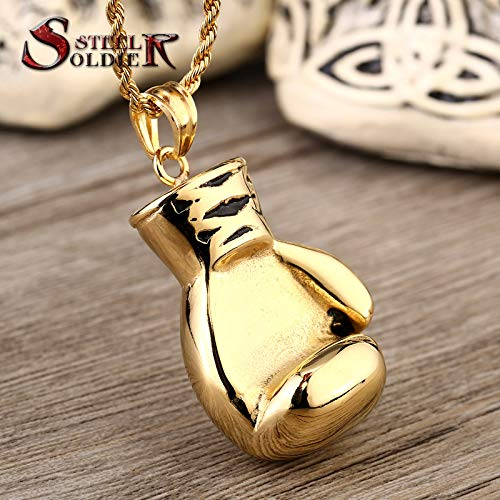 Main Stone Color: Small Style Davitu Steel Soldier Stainless Steel Gold boxglove Pendant Men Exquisite Fashion Necklace Pendant