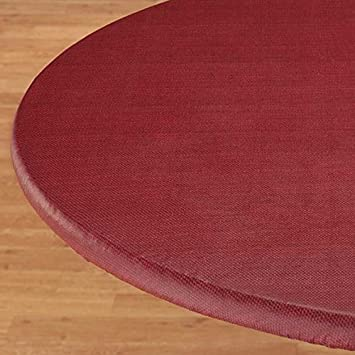 Beau Basketweave Elastic Table Cover   Small Round In Burgundy