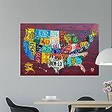 Wallmonkeys License Plate Map Usa Wall Mural by Design Turnpike (48 in W x 32 in H) WM310258