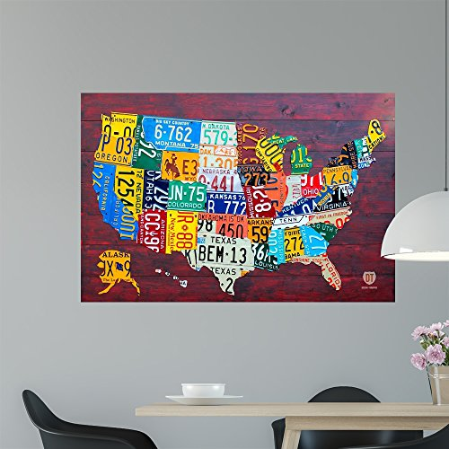 Wallmonkeys License Plate Map Usa Wall Mural by Design Turnpike (48 in W x 32 in H) WM310258