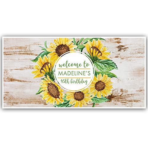 Rustic Sunflowers Happy Birthday Personalized Banner Party Decoration ()