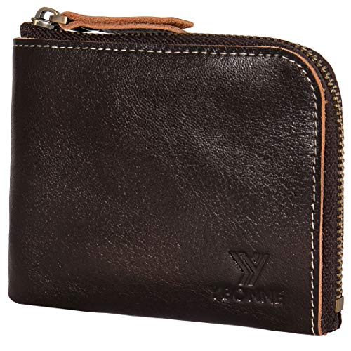 (YBONNE New Minimalist Premium Leather Small Wallet for Women and Men with Zipper, Made of Italian Vegetable-Tanned Leather)