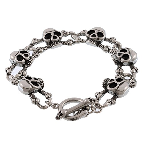 Bone Skull Bracelet (Stainless Steel Skull and Bones Bracelet)