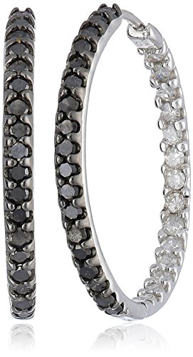 Sterling Silver Black and White Diamond Inside-Out Hoop Earrings (1.00 cttw, H-I Color, I2 Clarity)
