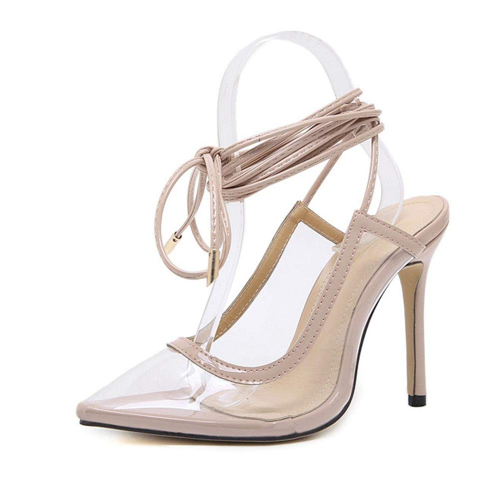 KRPENRIO Womens High-heeled Pointed Transparent Straps Super High-heeled Womens Shoes