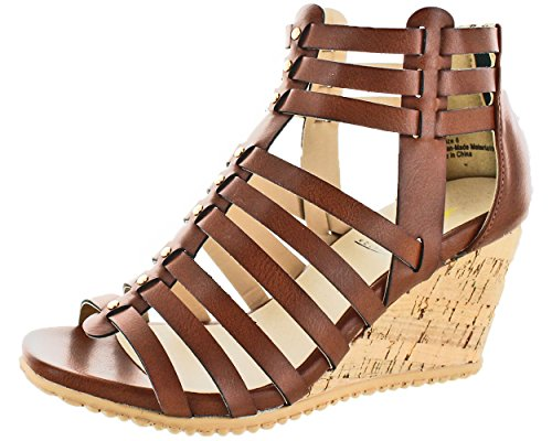 Sandals Brown Volatile (Volatile Women's Prominent Wedge Sandal, Brown, 9 B US)