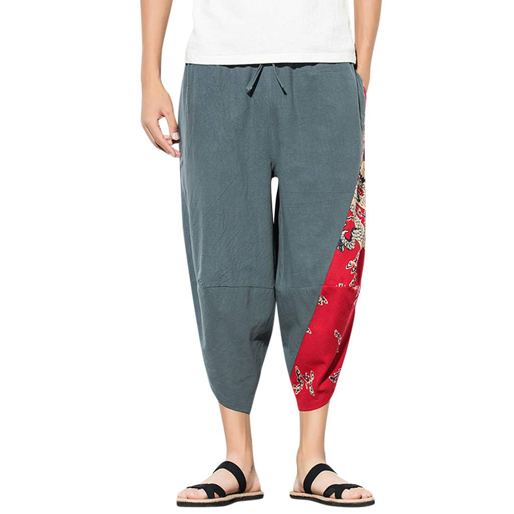 Men's Harem Capri Pants | Men Relaxed Loose Fit Fashion Patchwork Elastic Waist Shorts | Casual Wide Leg Baggy Trousers